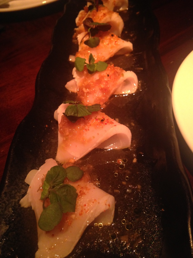Butterfish Tataki with White Asparagus and Yuzu