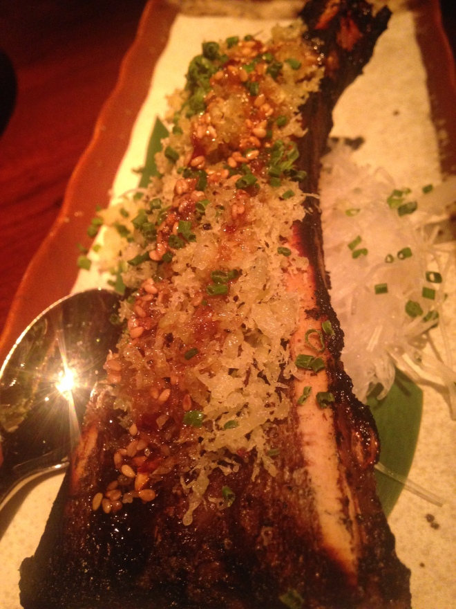 Grilled Bone Marrow and Spicy Sweet Garlic Soy