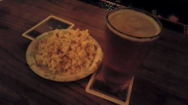 White horse popcorn and beer